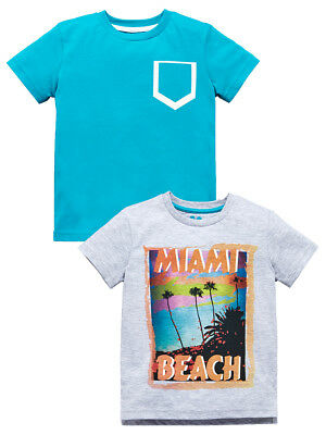 Mini V by Very Boys Pack of Two Miami Beach T-Shirts in Multi Size 5-6 Years