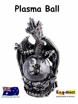 Gothic Black And Silver Large Dragon Protecting Plasma Ball Electric Hw-36