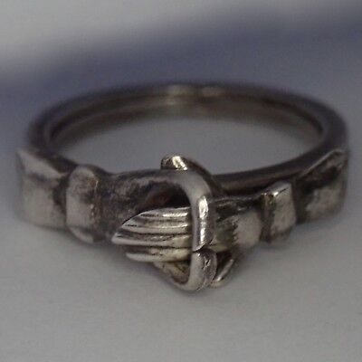 Unusual Vintage Mexican Sterling Silver Mechanical Hand In Heart Ring