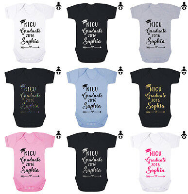 NICU GRADUATE, Personalised name, date, premature, new BABY VEST GROW Bodysuit