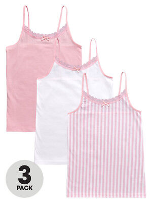 V by Very Pack of Three Candy Stripe Vest in Pink Size 13-14 Years
