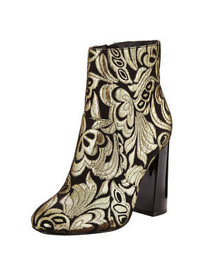 V by Very Emma Tapestry Ankle Boots In Black / Gold Size UK 4