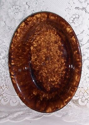 Heavy Pottery Oval Dish  Unusual Deep Brown/Black Spatter Glaze  Red Ware?