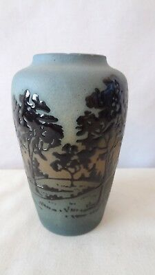 "Brush McCoy Pottery 1920's Rare Jetwood 4"" 052W Squeeze Bag Cabinet Vase #K311"