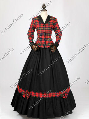 Victorian Dickens Christmas Caroler Holiday Plaid Dress Prairie Costume 122 M