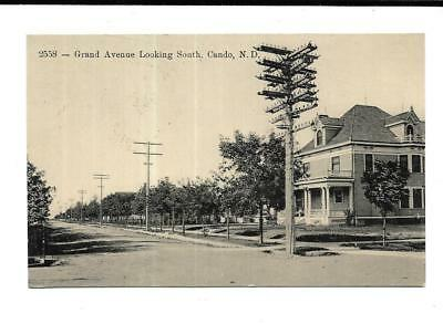 1913 Cando, North Dakota Postcard Of Grand Avenue Looking South