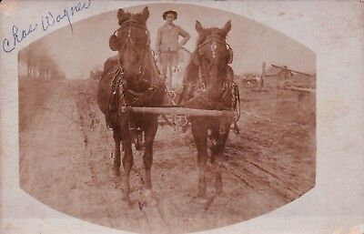 RPPC Real Photo Man with Team of HORSES Vintage Postcard