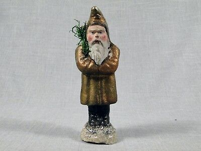 "Vintage Santa Belsnickle with Gold Copper Colored Coat - 6 1/2"" in Height - NR"