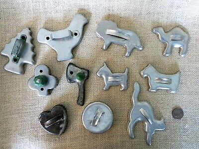 Mixed Lot of 11 Vintage Antique Cookie Cutters 2 GreenwareWood Handles