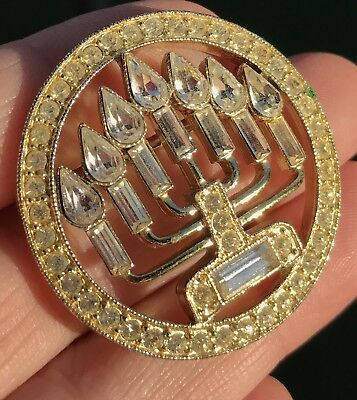 Vintage Gold Brooch Rhinestones Menorah Pin Estate Antique Hanukkah Christmas