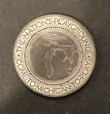Vintage 1933 Century Of Progress Exposition Michigan Playground Dow Metal Token