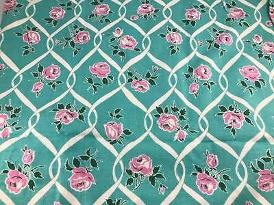 Vintage Turquoise With White Lattice & Pink Roses Feedsack (No Longer A Sack)