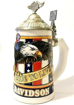 Harley Davidson Soar with the Eagle Series Beer Stein 1998 Limited/Numbered VG