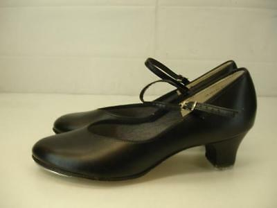 Womens 9.5 M Theatricals Heeled Buckle Black Leather Dance Tap Shoes Character