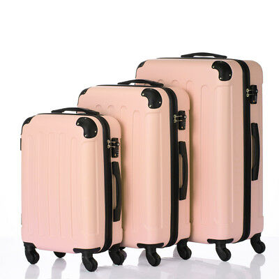 """3Pcs Luggage Set PC+ABS Trolley Spinner 20""""/24""""/28"""" Suitcase Hard Shell Pink"""