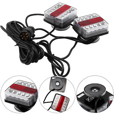 Pre Wired Magnetic Trailer Van Rear Towing Light Board Lights Lamps + 4.5M Cable