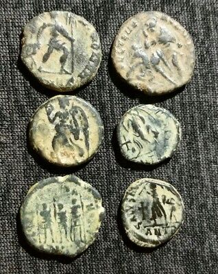 Lot Of 6 Ancient Roman Small Coins High Grade Victory Captive Reverse 3 Emperors