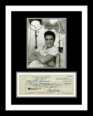 Elvis Presley *signed Bank Check* & Photo Print Display