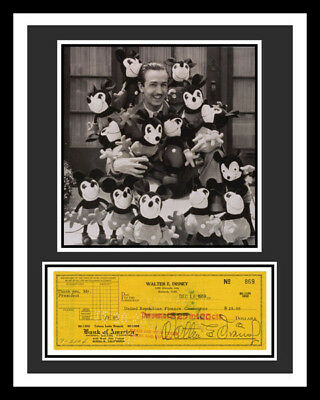 Walt Disney *signed Check* Display *ready To Frame*