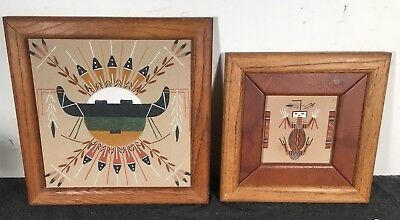 (2) Native American Indian Sand Painting art Signed