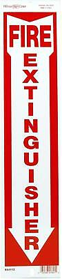 Hillman 844112 Fire Extinguisher Sign with Arrow Symbol, White and Red Alumin...