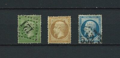 FRANCE - 1862 YT 20 à 22 - TIMBRES OBL. / USED