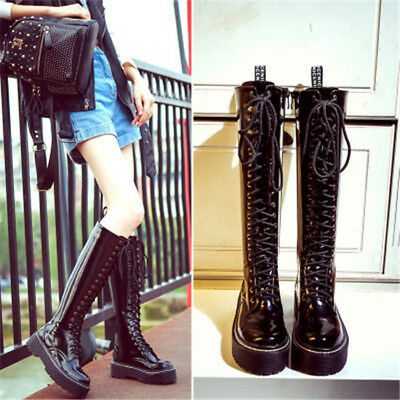 Women's Platform Flat Low Heel Knight Knee High Boots Punk Gothic Lace up Shoes