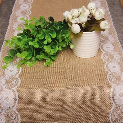 Burlap Hessian Lace Wedding Table Runner Vintage Rustic Country Decoration BM