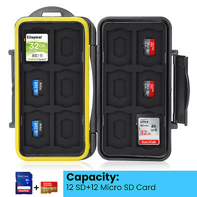 Water Resistant Storage Memory Card Case fits 12 SD Cards +12 Micro SD Cards