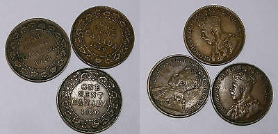 1918 19 20 Canada Large Cents Nice Detail Lot 3 Coins Inv#340-36
