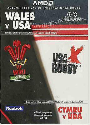 WALES v USA 2000 RUGBY PROGRAMME UNITED STATES in CARDIFF
