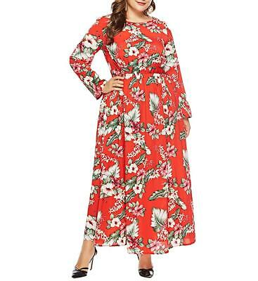 271f5074c1e Eternatastic Women s Maxi Dress Floral Printed Long Sleeve Plus Size Dress