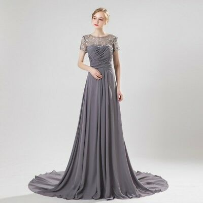 GRAY MOTHER OF the Bride Dresses Plus Size Short Sleeves Beading Formal  Gowns