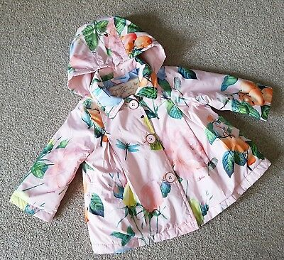 Baby Baker Ted Baker Girls Pink Rain Mac Jacket Size 6-9 Months Oranges