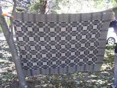 """NICE Antique 19th Century Blue & White Woven Wool Coverlet 92"""" by 72"""" Fr Indiana"""