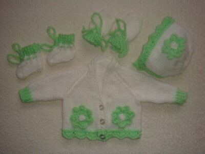 """White/green V Neck Cardigan, Bonnet,mittens,bootees 14"""" Chest Prem Baby"""