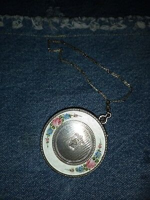 Vintage Antique Silver guilloche enamel compact with wrist chain Free Shipping