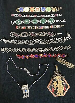 Vintage Gold Tone & Silver Tone Enamel unusual Bracelets Pendant Necklace lot