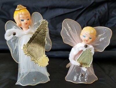 2 Vintage Angel Ornaments Chenille Tulle Wire Wings