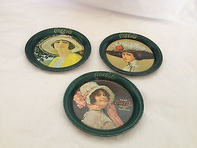 Three Vintage 1983 Coca-Cola Tin Coasters