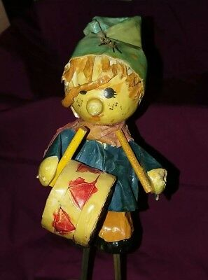 "Vintage Paper Mache Drummer Boy 6.5"" Christmas Ornament 1960s, German"
