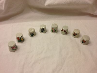 Lot Of Eight Vintage Porcelain Style Thimbles With Different Flowers Design