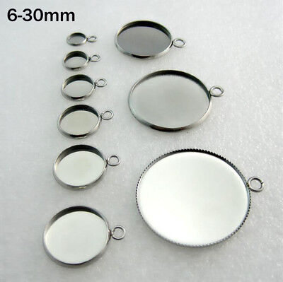 50x Stainless Steel Pendants Jewelry DIY Round Cabochon Blank Bezel Base Tray