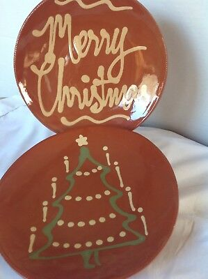 "Two Signed Vintage Slip Decorated Redware Plates 10.5"" Merry Christmas And Tree"