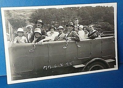 Jersey Channel Island Postcard Open Bus Outing 1928 Real Photo Card MM 6.8.28