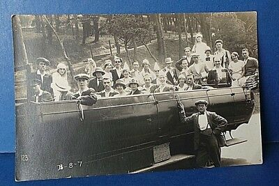 Jersey Channel Island Postcard Open Bus Outing 1920's Real Photo Card by A Smith