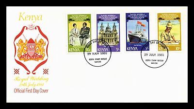 Dr Jim Stamps Royal Wedding Fdc Combination Kenya Monarch Size Cover 1981
