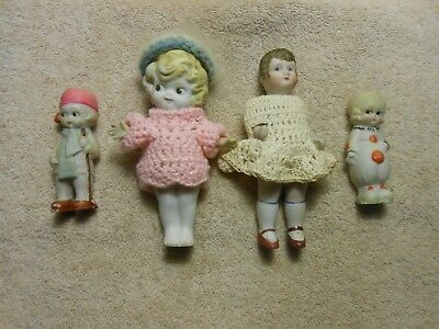 Lot of Four Antique Small Bisque Dolls Made in Japan