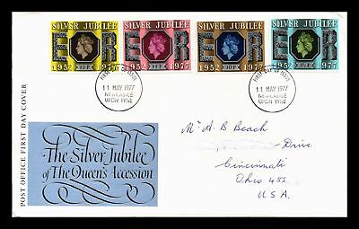 Dr Jim Stamps Silver Jubilee Queens Accession Fdc United Kingdom European Cover