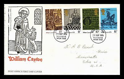 Dr Jim Stamps William Caxton Fdc Combo United Kingdom European Size Cover 1976